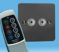 V-Pro IR, 2 Gang, 100 Watt Remote Control/Touch LED Dimmer Ultra Flat Iridium Black inc Scene Remote
